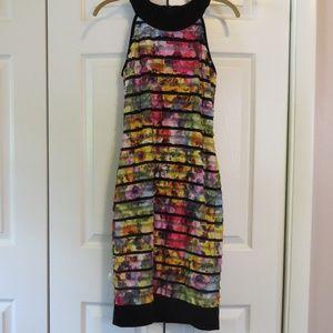 Joseph Ribkoff Ruffle Floral Sheath Dress Sz 8